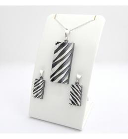 Srebrny komplet - zebra