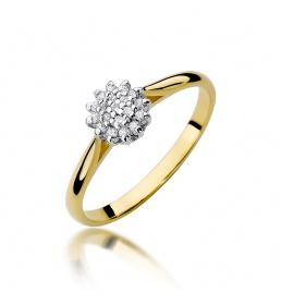Złoty pierścionek z brylantami 0,10ct  (W-401)