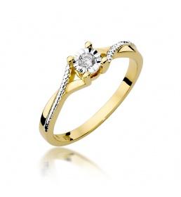 Złoty pierścionek z brylantem 0,08ct (W-361)