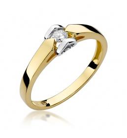 Złoty pierścionek z brylantem 0,09ct (W-320)
