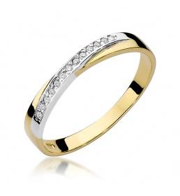 Złoty pierścionek z brylantami 0,07ct (W-305)