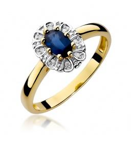 Złoty pierścionek z szafirem i brylantami 0,70ct (W-304)