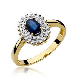 Złoty pierścionek z szafirem i brylantami 0,70ct  (W-303)