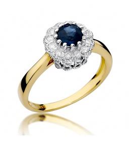 Złoty pierścionek z szafirem i brylantami 0,50ct  (W-284)