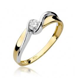 Złoty pierścionek z brylantem 0,15ct  (W-278)