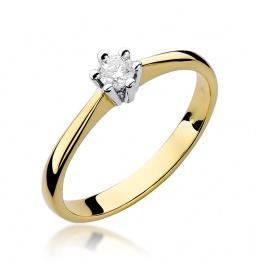 Złoty pierścionek z brylantem 0,15ct (W-256)