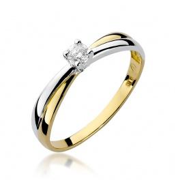 Złoty pierścionek z brylantem 0,10ct (W-230)