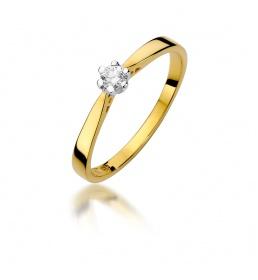 Złoty pierścionek z brylantem 0,10ct  (W-229)