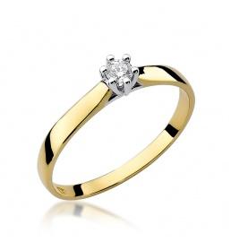 Złoty pierścionek z brylantem 0,08ct (W-222)