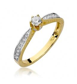 Złoty pierścionek z brylantami 0,30ct (W-202)