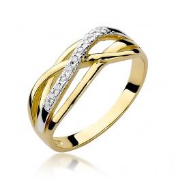 Złoty pierścionek z brylantami 0,10ct (W-157)