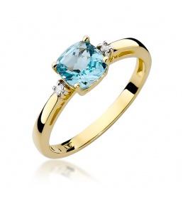 Złoty pierścionek z brylantami i topazem 0,70 ct (W-3)