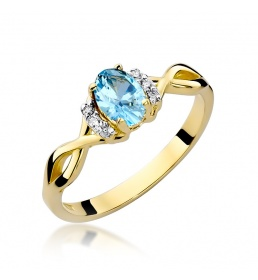 Złoty pierścionek z brylantami i topazem 0,50 ct (W-19)