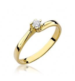 Złoty pierścionek z brylantem 0,10ct  (W-21)