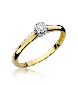 Złoty pierścionek z brylantem 0,13ct (W-42)