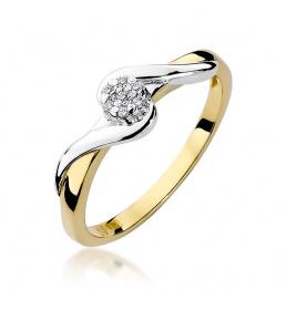 Złoty pierścionek z brylantami 0,04ct (W-22)