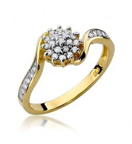 Złoty pierścionek z brylantami 0,26ct (W-11)