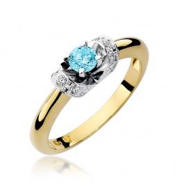 Złoty pierścionek z brylantami i topazem 0,50 ct (W-43)