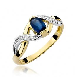 Złoty pierścionek z szafirem i brylantami 0,70ct (W-28)