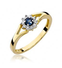 Złoty pierścionek z szafirem i brylantami 0,15ct (W-185)