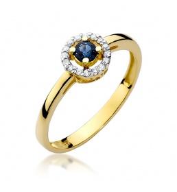 Złoty pierścionek z szafirem i brylantami 0,15ct (W-238)