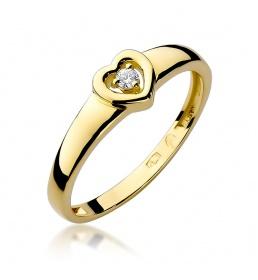 Złoty pierścionek z brylantem 0,04ct (W-1)