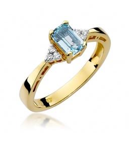 Złoty pierścionek z brylantami i topazem 0,6 ct  (W-2)