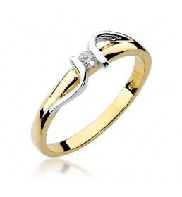 Złoty pierścionek z brylantem 0,05ct (W-25)