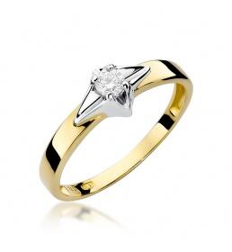 Złoty pierścionek z brylantem 0,10ct (W-30)