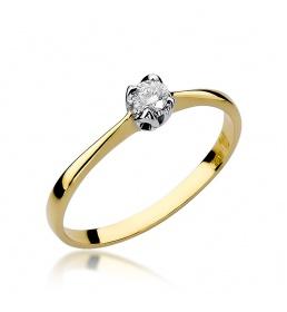 Złoty pierścionek z brylantem 0,10ct (W-47)