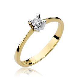 Złoty pierścionek z brylantem 0,12ct (W-58)
