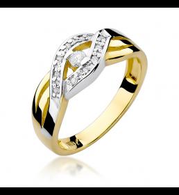 Złoty pierścionek z brylantami 0,10ct (W-83)