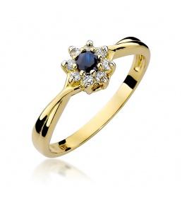 Złoty pierścionek z szafirem i brylantami 0,15ct (W-72)