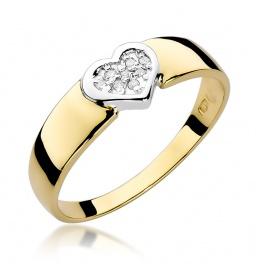 Złoty pierścionek z brylantami 0,04ct (W-314)