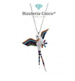 Srebrny naszyjnik - kolorowy ptak