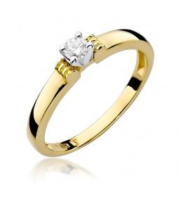 Złoty pierścionek z brylantem 0,15ct (W-81)
