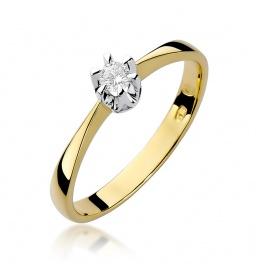 Złoty pierścionek z brylantem 0,10ct (W-111)