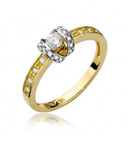 Złoty pierścionek z brylantami 0,25ct (W-162)