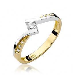 Złoty pierścionek z brylantami 0,16ct (W-177)