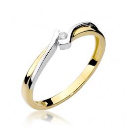 Złoty pierścionek z brylantem 0,04ct (W-181)