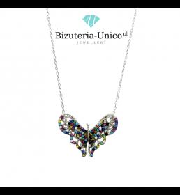 Srebrny naszyjnik - motyl z kolorowymi kamieniami