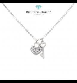 Srebrny naszyjnik - serce i kluczyk