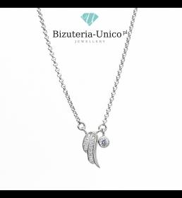 Srebrny naszyjnik - skrzydło i cyrkonia