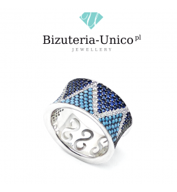 Srebrny pierścionek z kolorowymi kamieniami