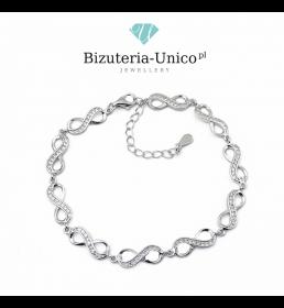 Srebrna bransoletka z cyrkoniami - nieskończoność