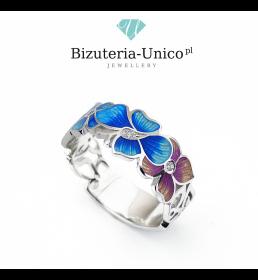 Srebrny pierścionek z kolorową emalią