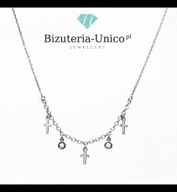 Srebrny naszyjnik modowy - krzyże