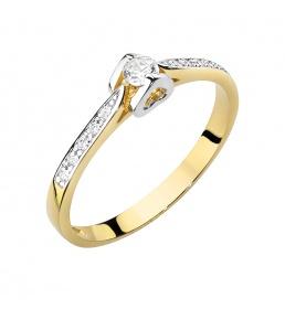 Złoty pierścionek z brylantem 0,15ct (W-435)