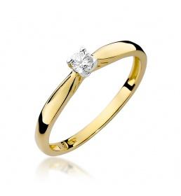 Złoty pierścionek z brylantem 0,10ct (W-45)