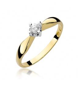 Złoty pierścionek z brylantem 0,12ct (W-171)